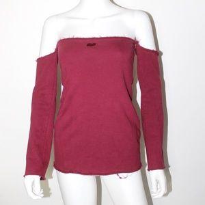 Shoulderless Fleece Top